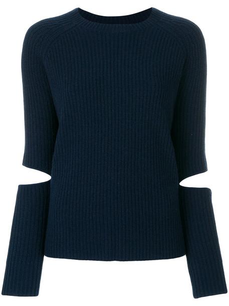 Zoe Jordan jumper women slit blue wool sweater