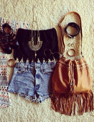bag shorts sunglasses glasses top lace top black top fashion indie boho indie boho jewelry hippie