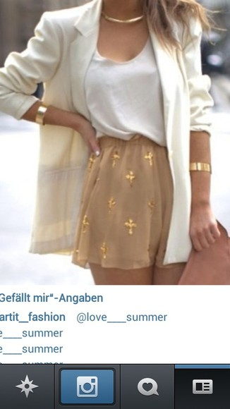 white blazer skirt gold crosses swag