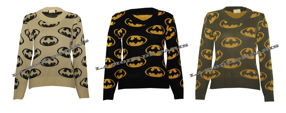 P65 Cardigan Womens Batman Print Knitted Cosmic Jumper Dark Knight Rises | eBay