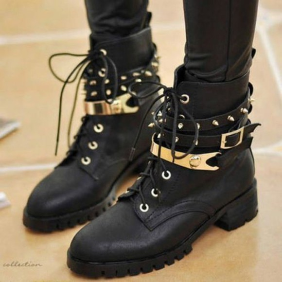 studs punk shoes boots rock chunky buckle chic spike edgy