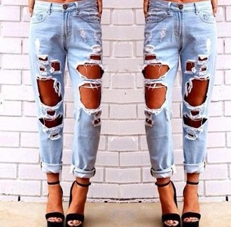 jeans blue distressed jeans