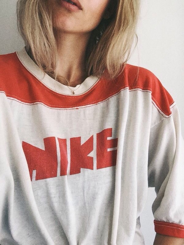 T shirt nike red white vintage oversized t shirt for Old school nike shirts