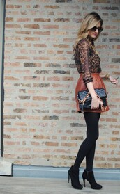 orangish brown,skirt,heels,ankle boots,black