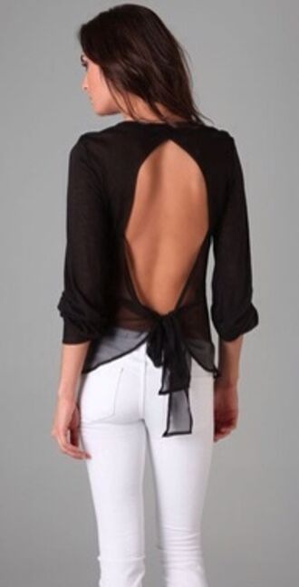 blouse black white jeans meal cute girl lady women pretty beautiful open back backless top sheer sheer blou