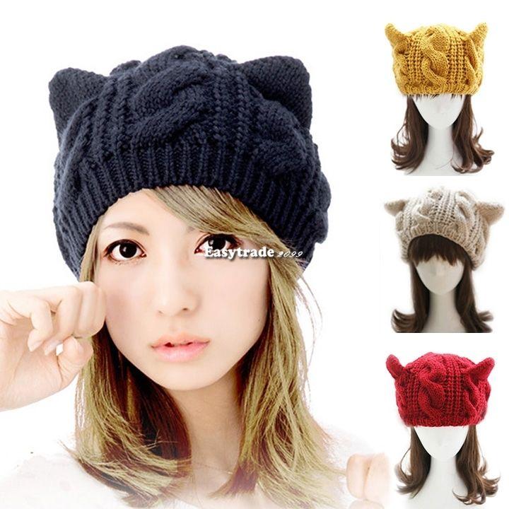 Korean Women Devil Horns Cat Ear Crochet Braided Knit Ski Beanie Wool Hat Cap   eBay