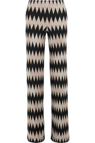 pants wide-leg pants knit black wool crochet