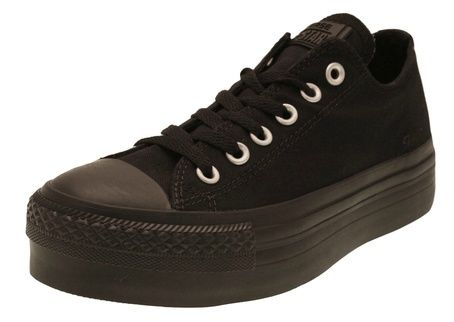 LADIES CONVERSE PLATFORM TRAINERS BLACK SIZES 3-8 BNIB FS318B | eBay