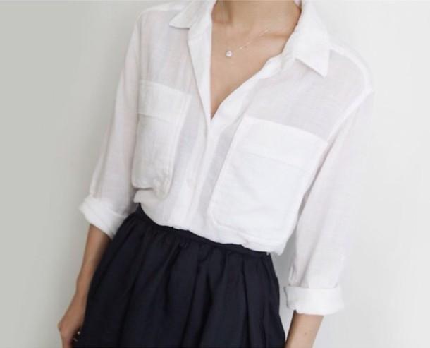 Shirt white blouse white t shirt white shirt pocket t for T shirt dress outfit tumblr