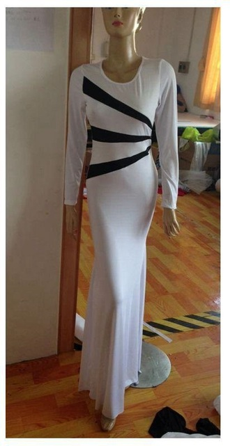 dress white black prom long homecoming dress long sleeves