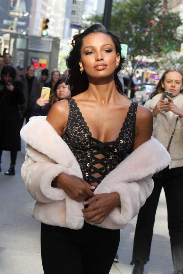 top lingerie black black top lace up jasmine tookes model off-duty victoria's secret victoria's secret model sexy