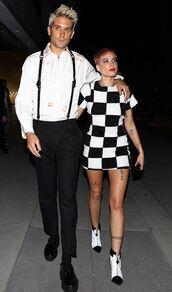dress,halsey,black and white,mini dress,ankle boots