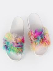 shoes,girly,fur,faux fur,colorful,slide shoes,fur slides