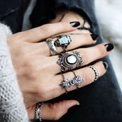 jewels,shop dixi,black pearl,abalone,ring,sterling silver,boho,bohemian,grunge,goth,witchy