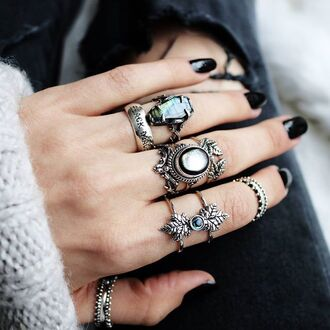 jewels shop dixi black pearl abalone ring sterling silver boho bohemian grunge goth witchy