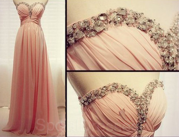 dress prom prom dress blush pink floorlength beautiful gems sparkle
