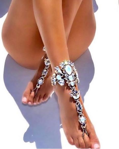 barefoot sandals crystal beach wedding foot jewelry