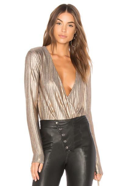 Minkpink bodysuit metallic gold underwear