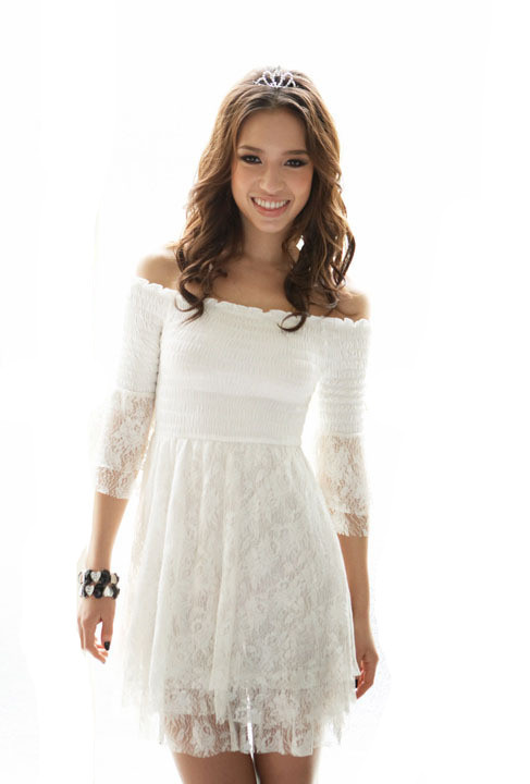 2013 Korean Style White  Lace Off Shoulder Short Skirt Sweet Style Slim Women's Mini Dress Free shipping WQL099-in Dresses from Apparel & Accessories on Aliexpress.com