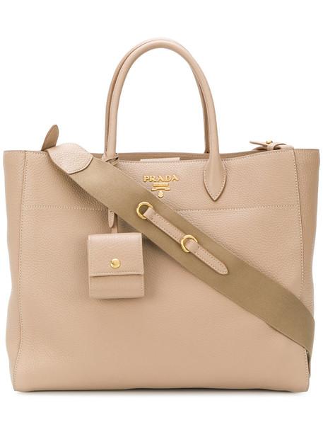 Prada - classic shopper tote - women - Calf Leather - One Size, Nude/Neutrals, Calf Leather