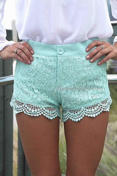 shorts mint lace shorts pretty