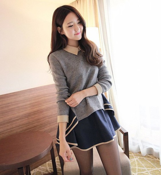 collar sailor grey asian korean fashion ulzzang K-pop long sleeves romantic winter outfits korean fashion