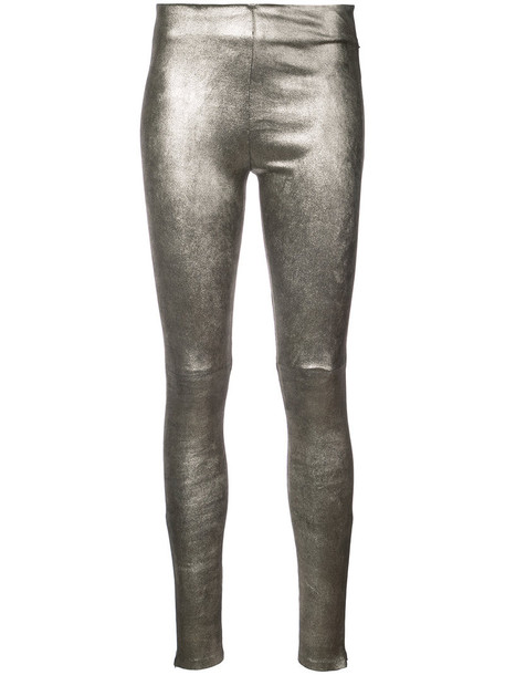 THEPERFEXT leggings metallic women leather grey pants