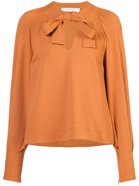 See by Chloe blouse bow women spandex yellow orange top