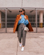 sweater,blue sweater,orange coat,high waisted,pants,plaid,white sneakers