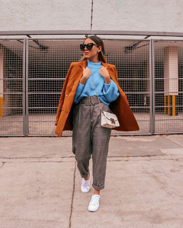 sweater blue sweater orange coat high waisted pants plaid white sneakers
