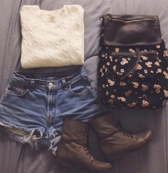shorts sweater boots bag