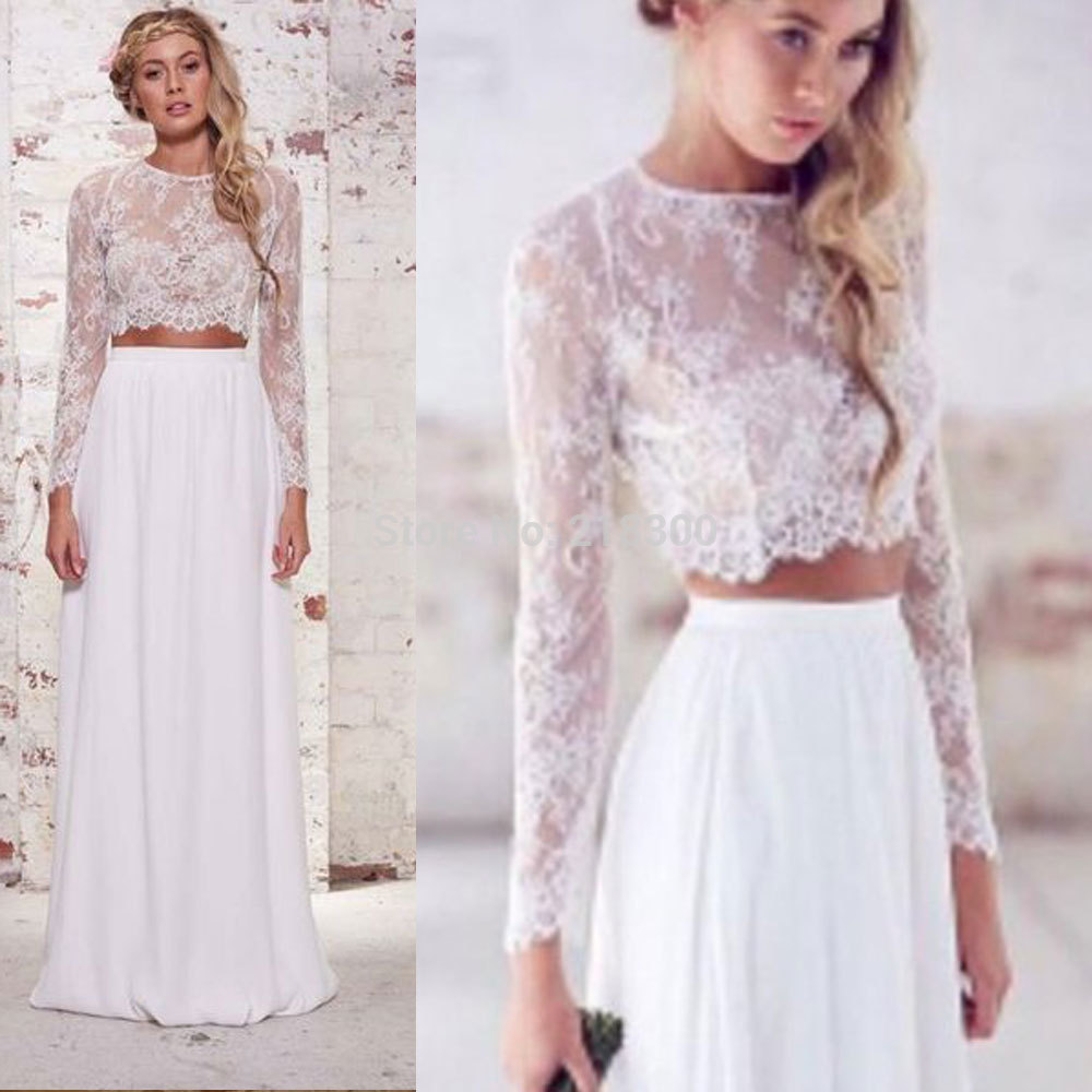 Aliexpress Buy Crop Top Boho Wedding Dresses 2 Pieces Lace Long Sleeves Beach Dress Chiffon Destination