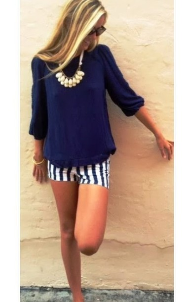 shoes stripes cute navy blouse shorts blue blouse pattern granate stripes sweater jewels gloves shirt top fashion cute top navy blue tops navy blue top blue white stripe dressy quarter sleeved top