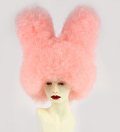 cute beanies,bunny ears,fluffy,cuddly,crazy,clothes,pink wig,soft,pink hair,colorful hats,funny