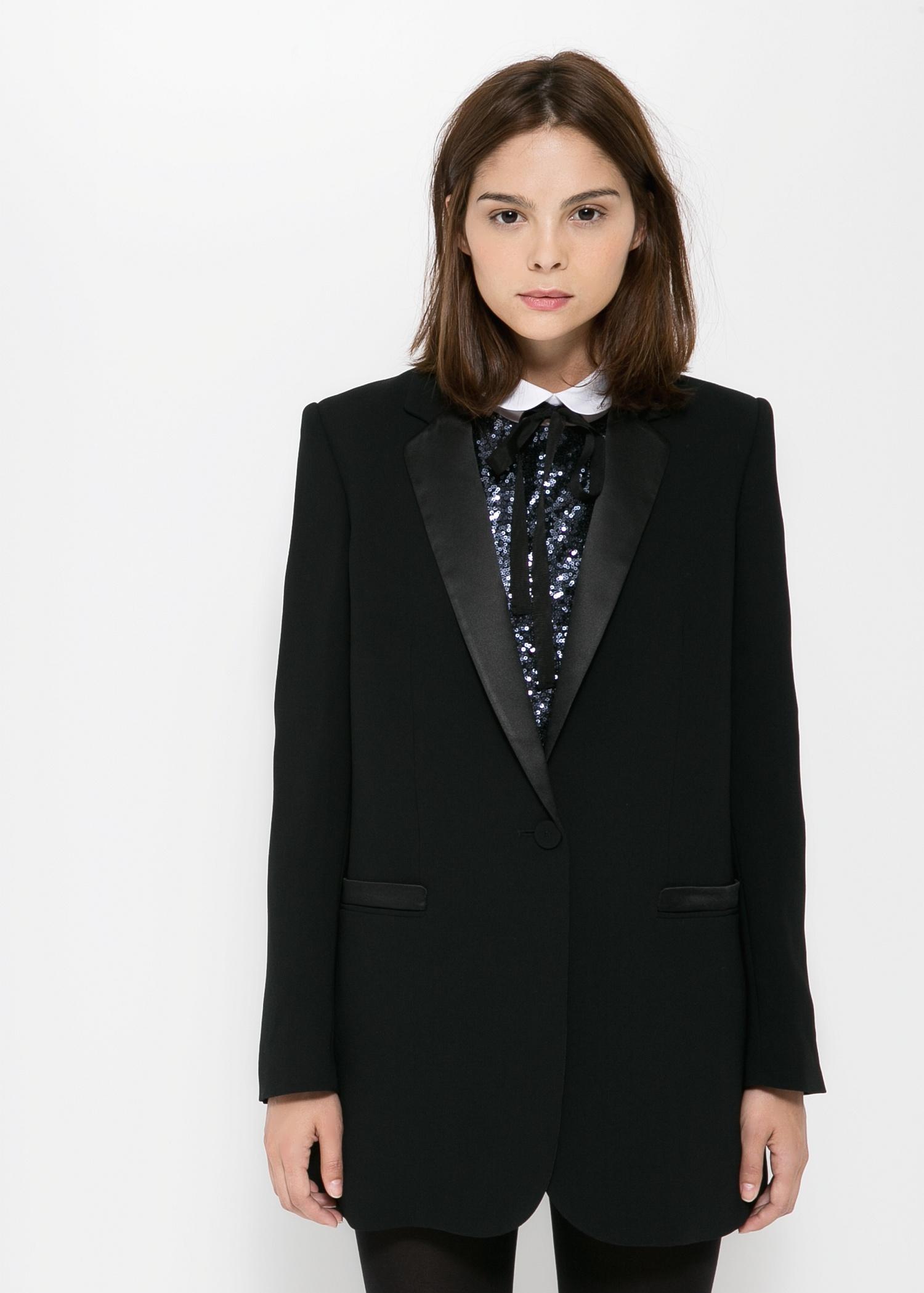 Blazer mit satin-details - Jacken für Damen | MANGO