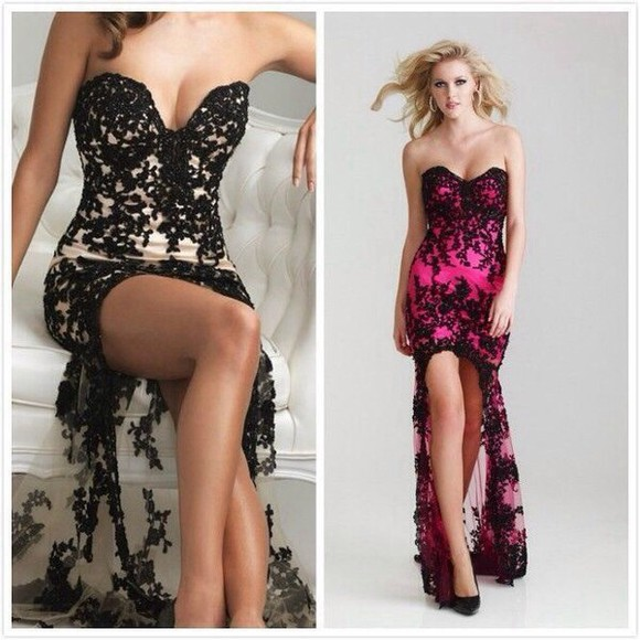 prom dress prom backless long dress black sexy dress strapless short in the front long in the back lace dress pink dress sexy prom dresses