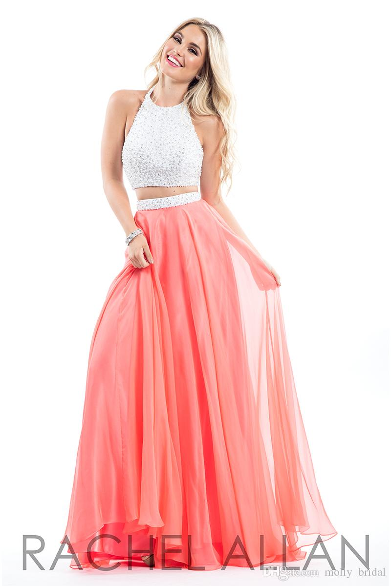 Coral Two Pieces Prom Dresses Long 2017 New Arrival High Neck ...