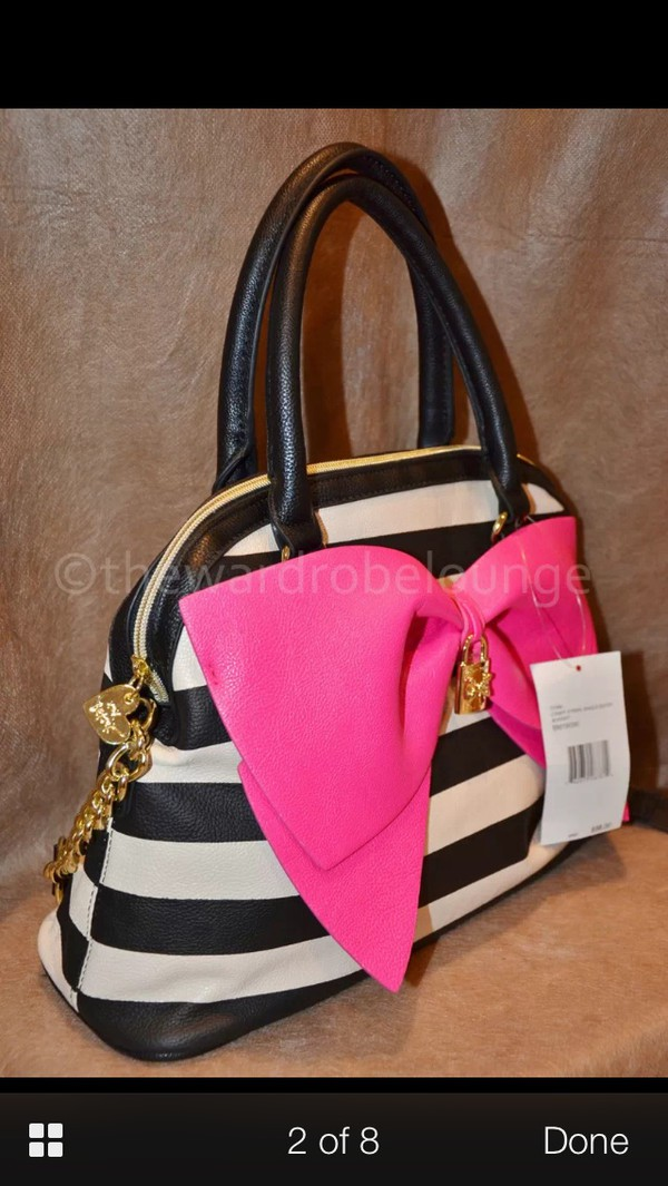 Bag Betsey Johnson Stripes Pink Bow Betseyjohnson