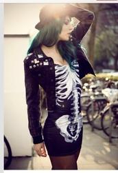 dress,little black dress,skeleton dress,cartoon,short dress,black skeleton dress,jacket,skeleton,black dress   skulls,bodycon,tight,mini,short,bones,black,white,grey,shiny