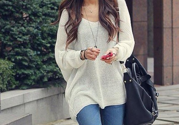 sweater loose fit sweater white jumper casual loose sweater white bag cute