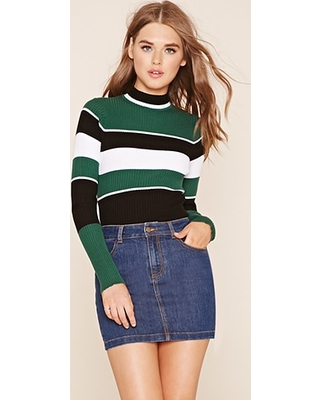 FOREVER21 Women's Black & White Striped Sweater Top from Forever ...