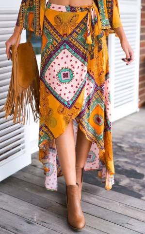 Boho print Bow Asymmetrical Women Maxi Skirt