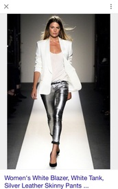 pants,silver,silver faux leather skinny pant
