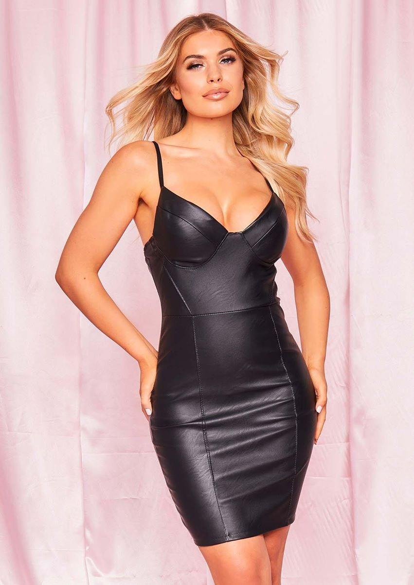 Ivonne Black Faux Leather Cupped Mini Dress
