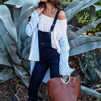 blouse overalls tumblr white blouse off the shoulder off the shoulder top dungarees denim overalls shirt stripes striped shirt bag brown bag handbag