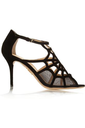 mesh sandals suede black shoes