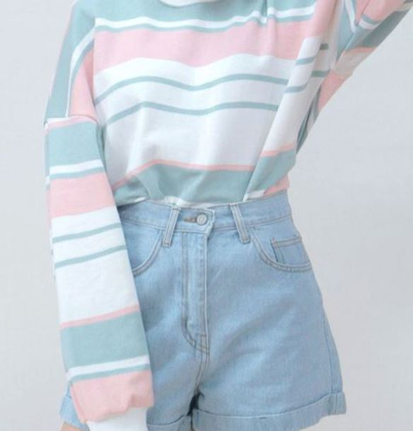 shirt pastel sweater jumper pastel top cute pink pastel pink blue white green pinterest top long sleeves shorts high waisted blue shorts High waisted shorts denim shorts
