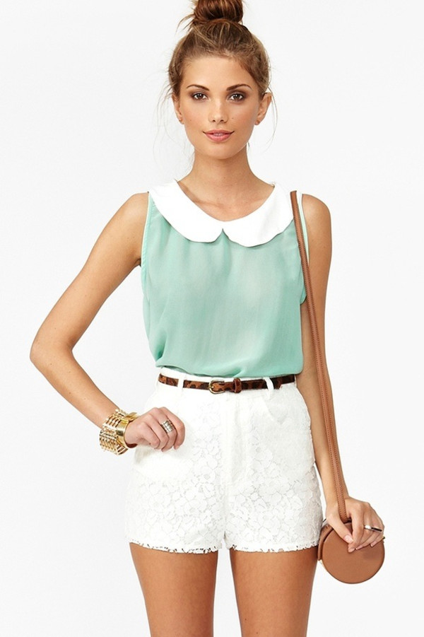 shirt aqua teal chiffon peter pan collar white collared top collared top blouse pastel shorts skirt colorful instagram bag belt mint zoella style collar mint blouse with peter pan  colar white shorts teal shirt with lace cute jewelry blue shirt clothes lace sorority collared shirt