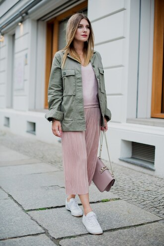 pants tumblr pink pants culottes sneakers white sneakers top pink top camisole jacket army green jacket