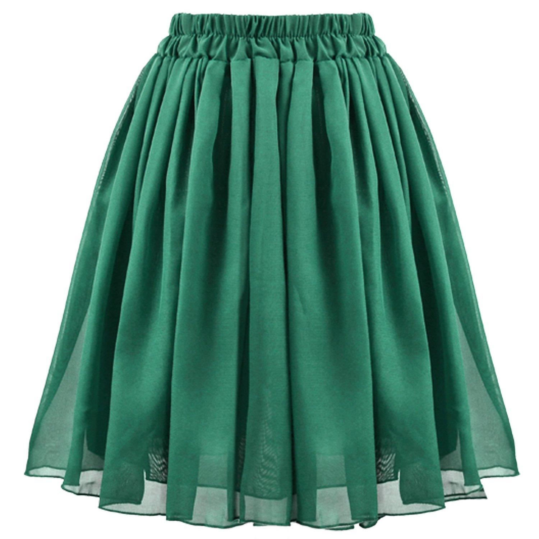 Zeagoo women's chiffon pleated retro midi short elastic waist dress dark green at amazon women's clothing store: skirts